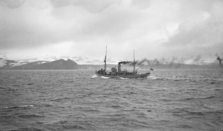 William Scoresby approaching Deception Island, 1944. (Photographer: James Edward Farrington, radio operator; Archives ref: AD6/19/1A/201/3)