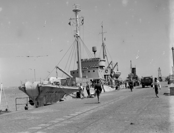 The Biscoe at the quayside, Montevideo, Uruguay, 1949. (Photographer: Robert Moss; Archives ref: AD6/19/2/BM172)