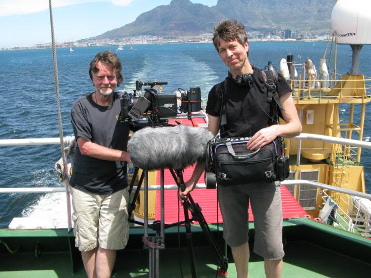 BBC camera man and sound man aboard the RRS Ernest Shackleton