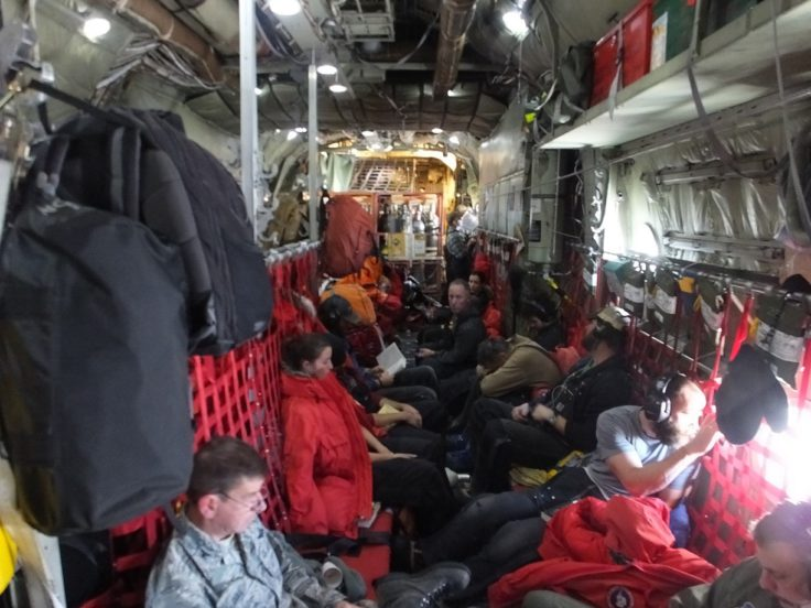 On board the C130 en route to New Zealand
