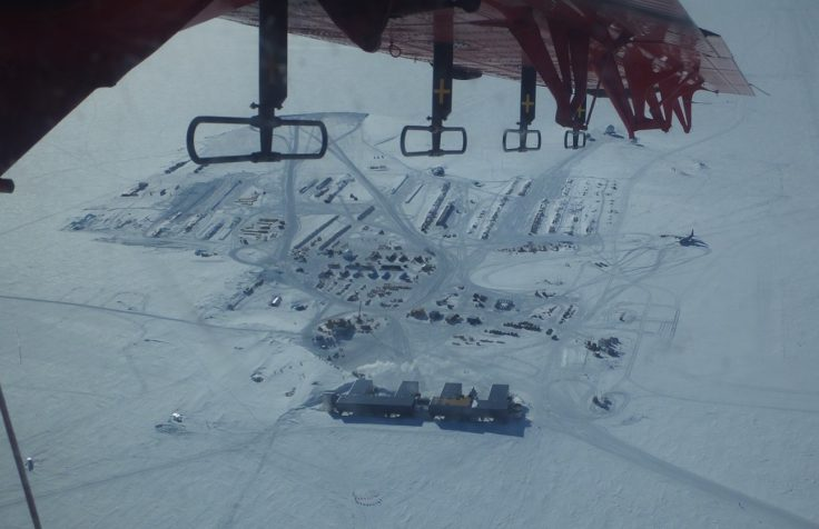 South Pole from the air - staton in the foreground