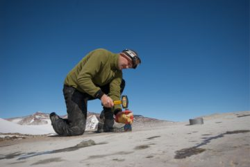 Steve Roberts, BAS Quaternary Scientist working in the field