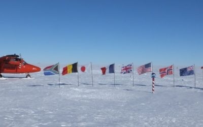 A propellor areoplane next to the flags of the Antarctic Treaty nations, behind the south pole marker