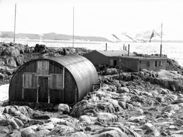 Base A, Port Lockroy, Wiencke Island, established on 11 Feb 1944. Occupied by nine men, winter 1944, and by four men, winter 1945. The main base was to have been at Hope Bay on the mainland but the second support vessel, SS Fitzroy, was not ice-strengthened and could not risk the sea ice in the bay. (Photographer: Ivan Mackenzie Lamb; Archives ref: AD6/19/1/A119)