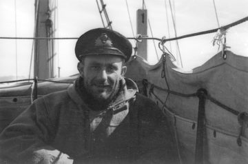 Victor Marchesi, captain of the expedition support ship, HMS William Scoresby, and 2nd-in-command. His experience in ice navigation from his time with Discovery Investigations was vital. (Photographer: Michael Sadler; Archives ref: AD6/19/2/E402/43a)
