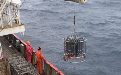 Deploying a 24-bottle Conductivity-Temperature-Depth (CTD) probe during Cruise JR224 in the East Scotia Sea.