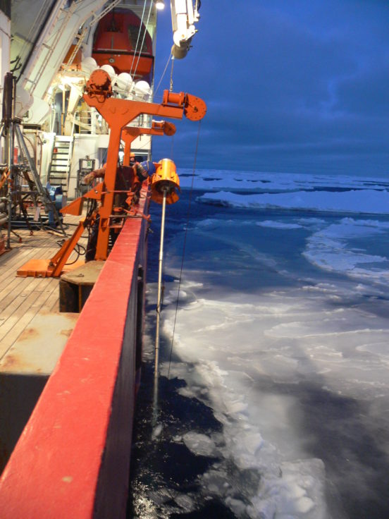 "Deployment of a sediment corer aboard the RRS ""James Clark Ross"" in the Amundsen Sea, West Antarctica (R. Larter, British Antarctic Survey)"