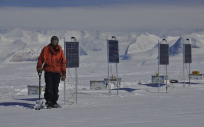Solar panels are used to power a remote glaciology field camp on the Rutford Ice Stream.