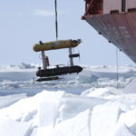 A ship in the snow.