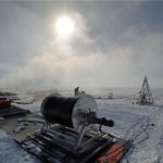 Engineering equipment in a snowy landscape