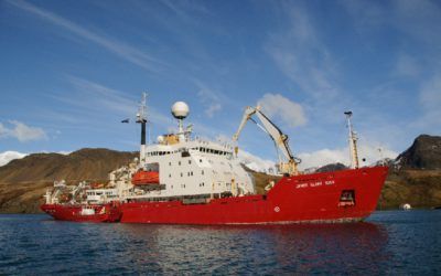 The British Antarctic Survey RRS James Clark Ross in Cumberland East Bay, South Georgia.