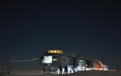 The Halley VI Research Station on the Brunt Ice Shelf in Antarctica over winter