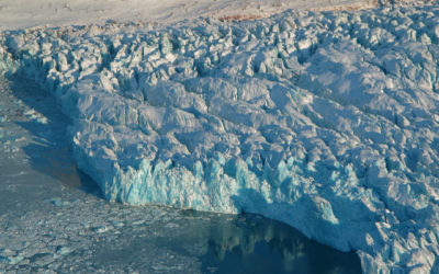 Arctic Glacier front close to Ny Alesund, Svalbard. Picture taken on a flight from Longyearbyen to Ny Alesund.