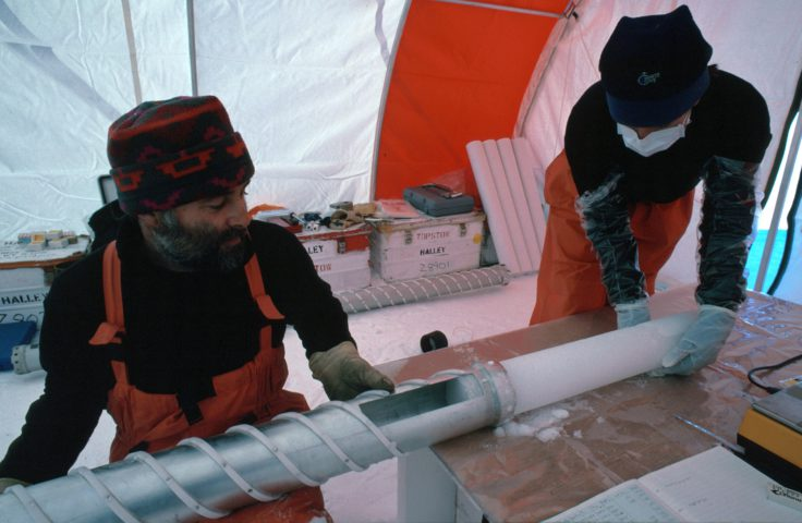 Collecting an ice core from Dronning Maud Land in Antarctica