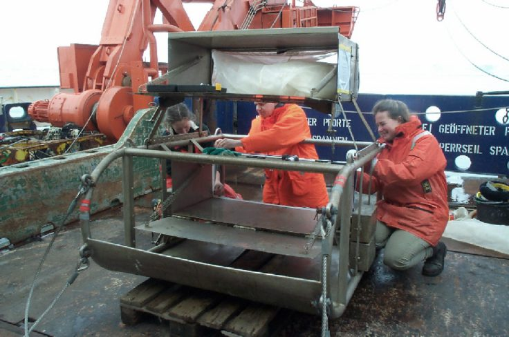 BAS scientists on the research vessel Polarstern prepare an epibenthic sledge for sampling animals from fine deep-sea sediments.  This image is associated with the 2005-2010 BAS science programme: BIOFLAME - Biodiversity, Function, Limits and Adaptation from Molecules to Ecosystems.