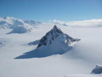 A snow covered mountain.