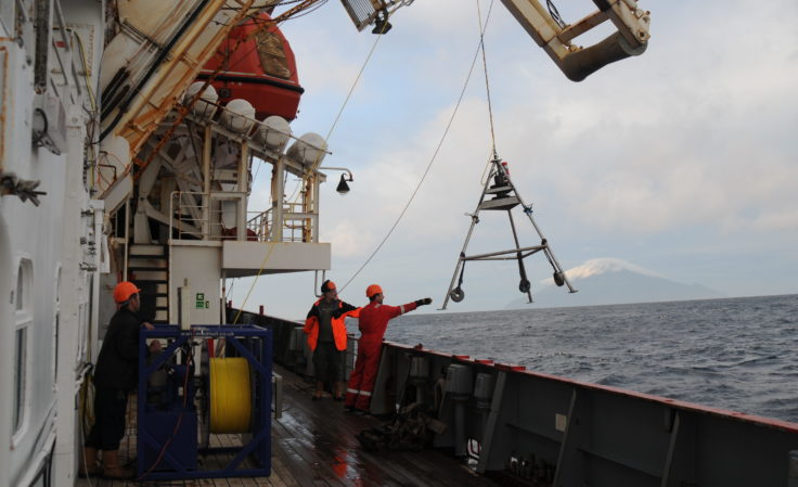 Deploying the custom-built remote camera system to monitor the seafloor while taking benthic samples. Photography by Dr David Barnes (British Antarctic Survey)