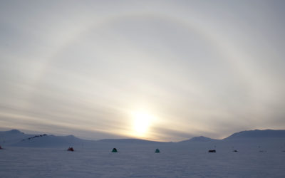 Sledge Romeo (field station), Geology Project. Camp 9, Mt Tricorn, with a sun halo