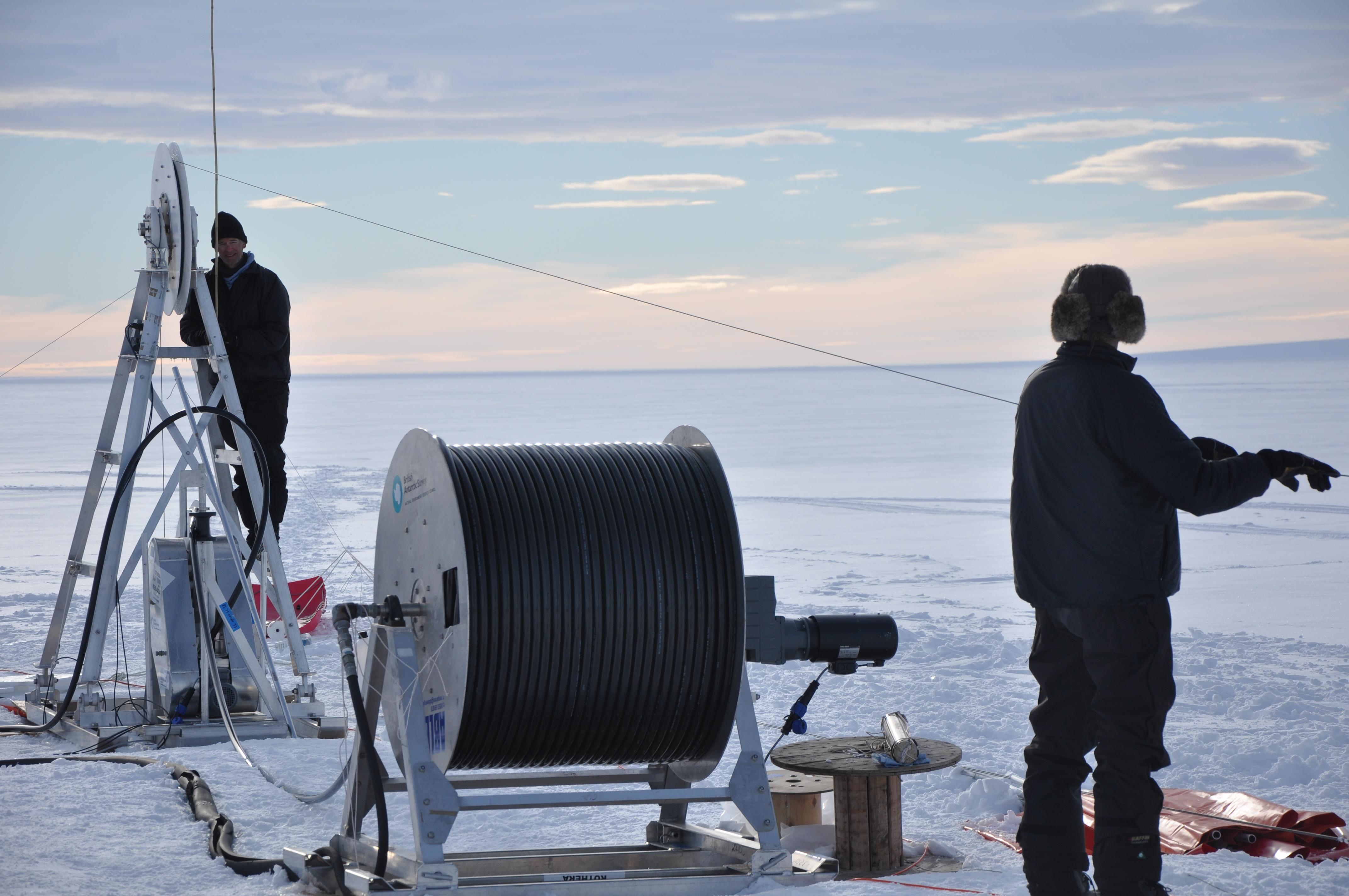 Hot water drilling in Antarctica
