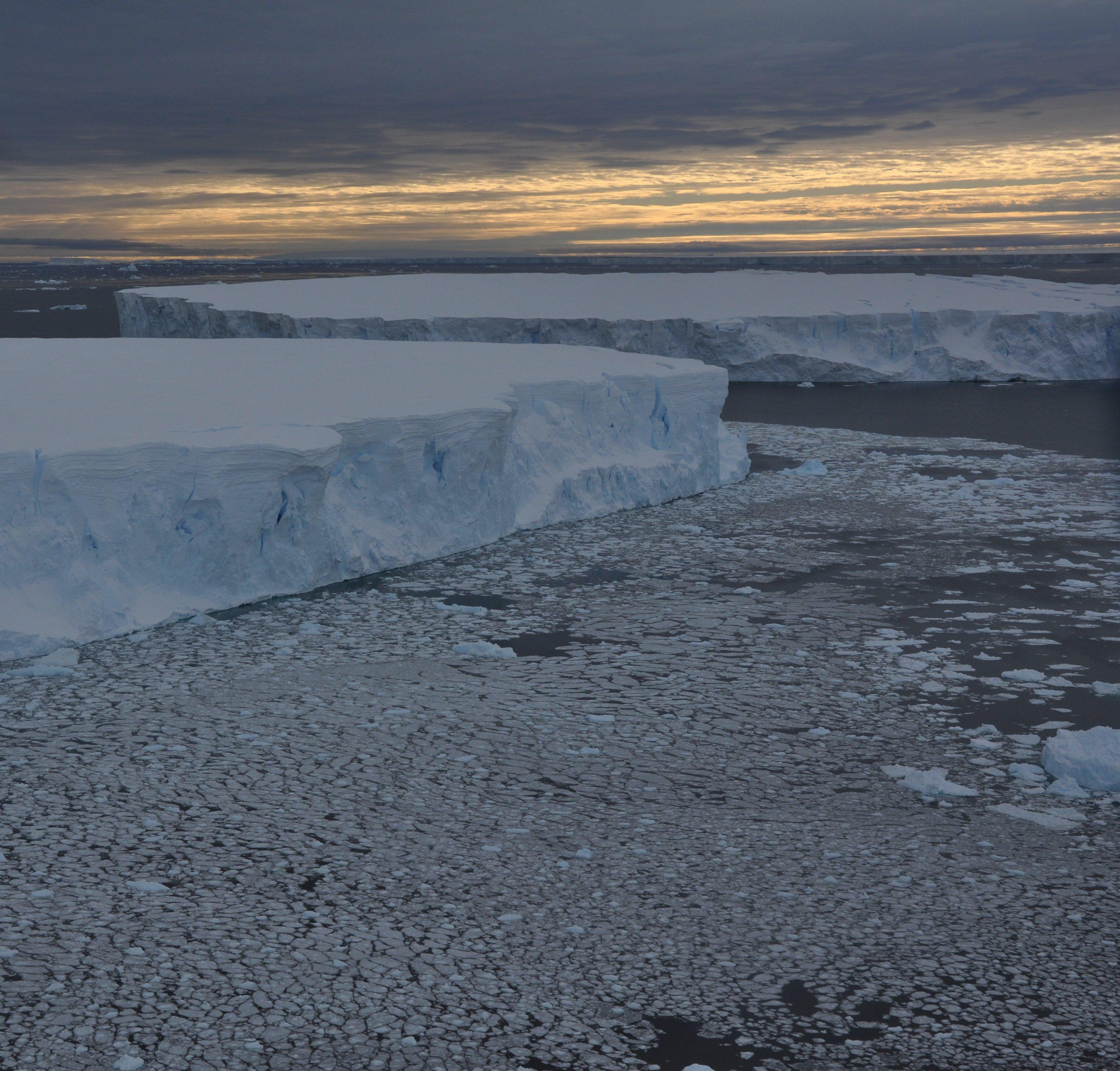 Tabular icebergs in Pine Island Bay