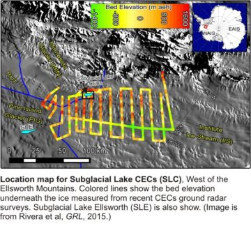 Location map for subglacial lake