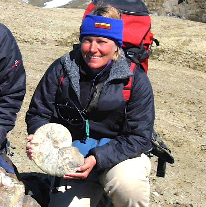 Jane Francis with ammonite in Antarctica