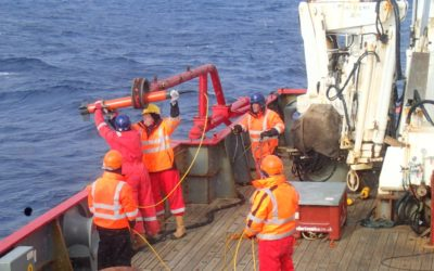 A magnetometer is deployed over the side of the RRS James Clark Ross