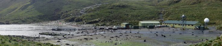 Bird Island research station panorama with Antarctic fur seals