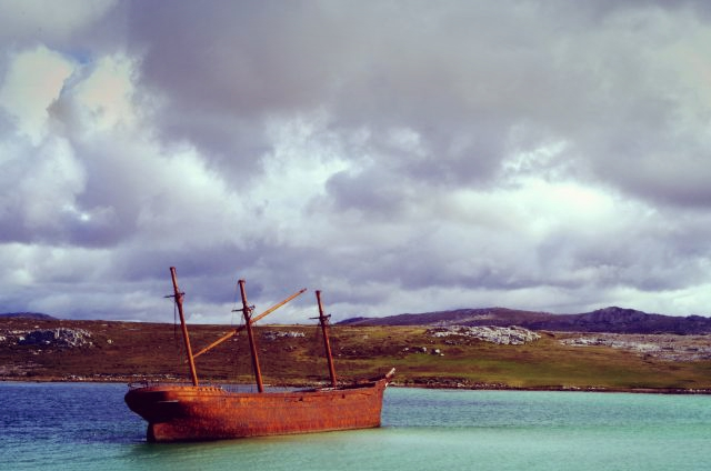 wreck of the Lady Elizabeth in Stanley harbour.