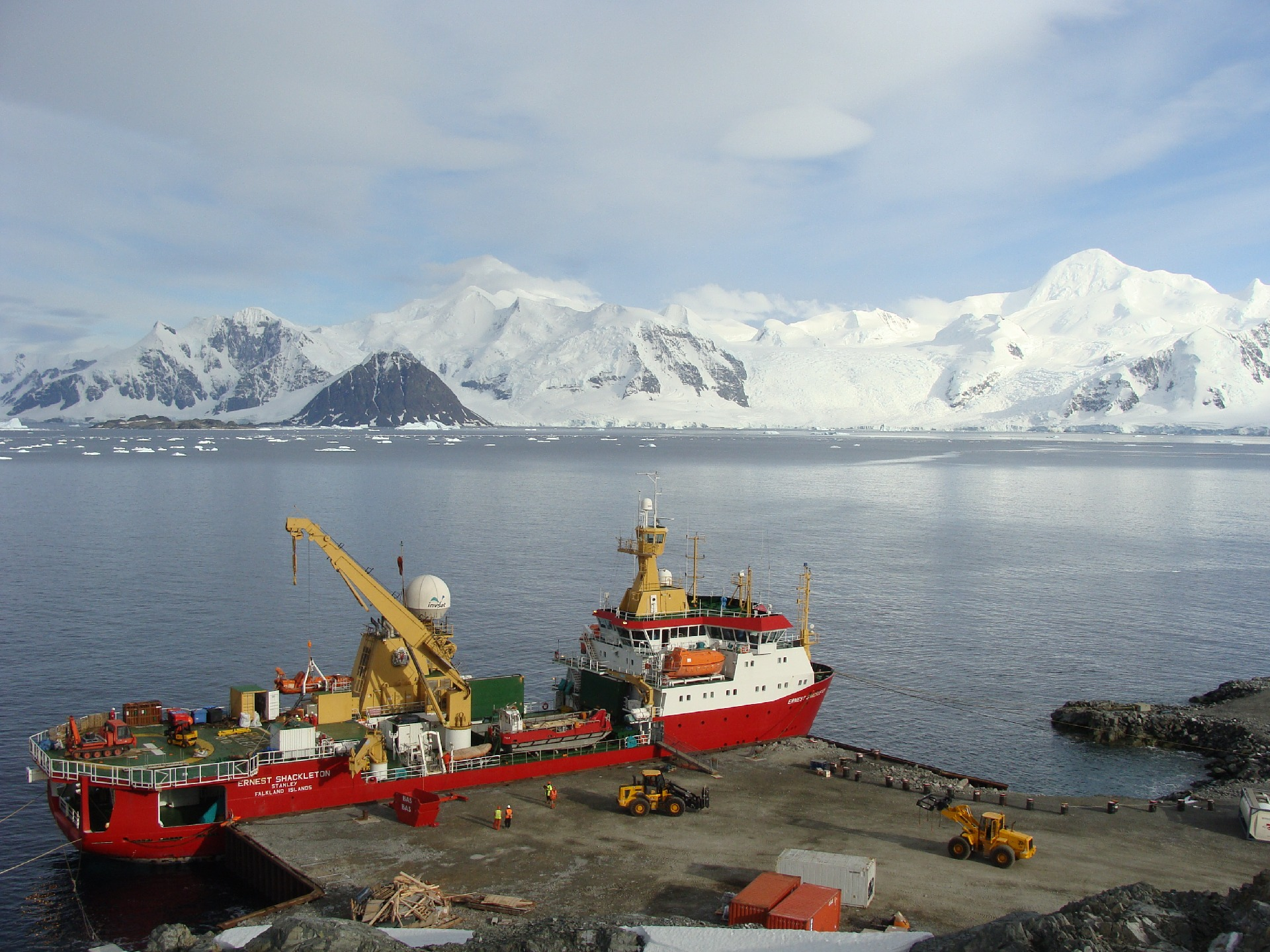 The RRS Ernest Shackleton moored at the wharf of Rothera Research Station