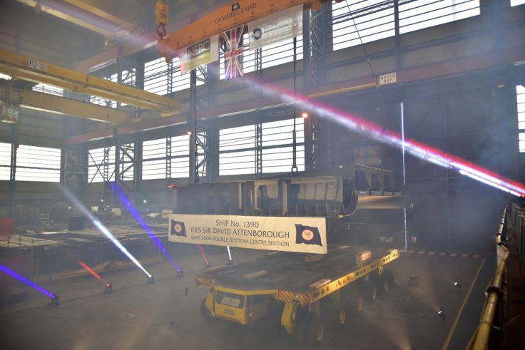 Keel laying for RRS Sir David Attenborough at Cammell Laird shipyard in Liverpool