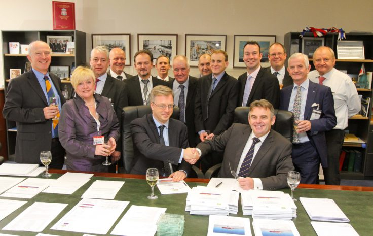 Signing the contract for RRS Sir David Attenborough with John Syvret CBE, CEO of Cammell Laird