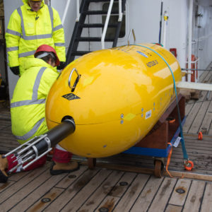 Boaty McBoatface (Autosub Long Range) at its first Antarctic deployment into the Weddell Sea off RRS James Clark Ross