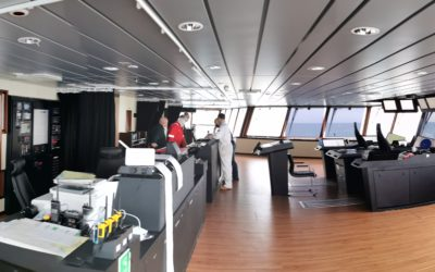 Panoramic view of the RRS Sir David Attenborough's Bridge - a large room with panoramic windows and control desks