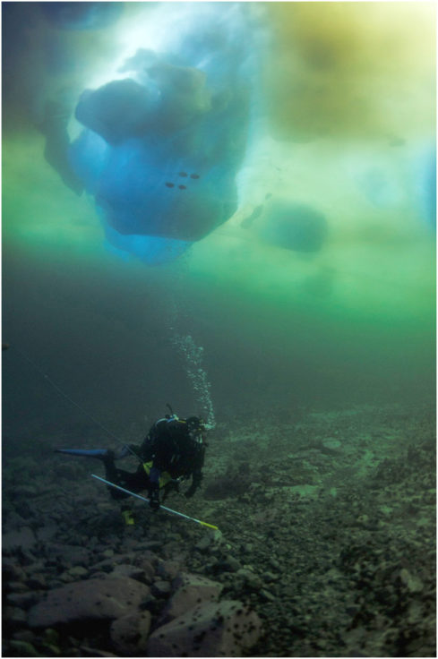 Diving operations under the sea ice near Rothera Research Station.