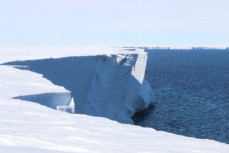 The edge of an ice cliff