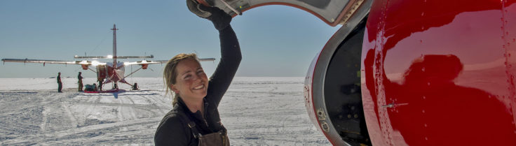 British Antarctic Survey pilot Vicky Auld at Berkner Island, Antarctica