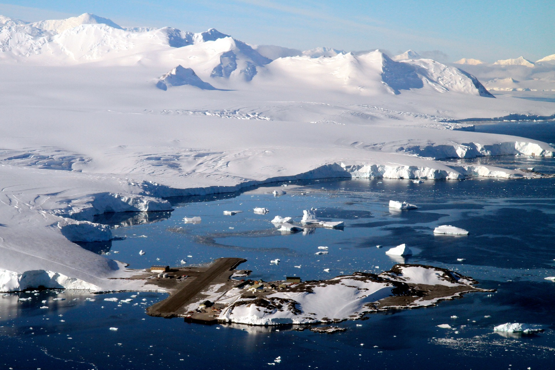 Aerial view of British Antarctic Survey research station at Rothera