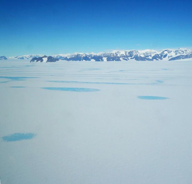 Meltwater pools on Larsen C ice shelf in Antarctica