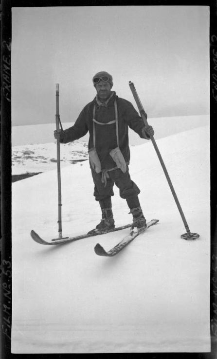 Lt. Cdr. James Marr in sledging outfit ready for manhaul, Port Lockroy, 29th October 1944. Photographer: I M Lamb. Archive ref: AD6/19/1/A53/2