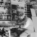 Lewis 'Chippy' Ashton working on ship models, Bransfield House, Port Lockroy, 19th June 1944. (Photographer: E. Mackenzie (I.M. Lamb). Archives ref: AD6/19/1/A5/5