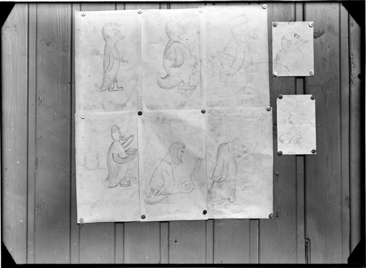 Penguin caricatures of Port Lockroy personnel, 1944 ((Photographer: E. Mackenzie (I.M. Lamb). Archives ref: AD6/19/1/A8071/1)