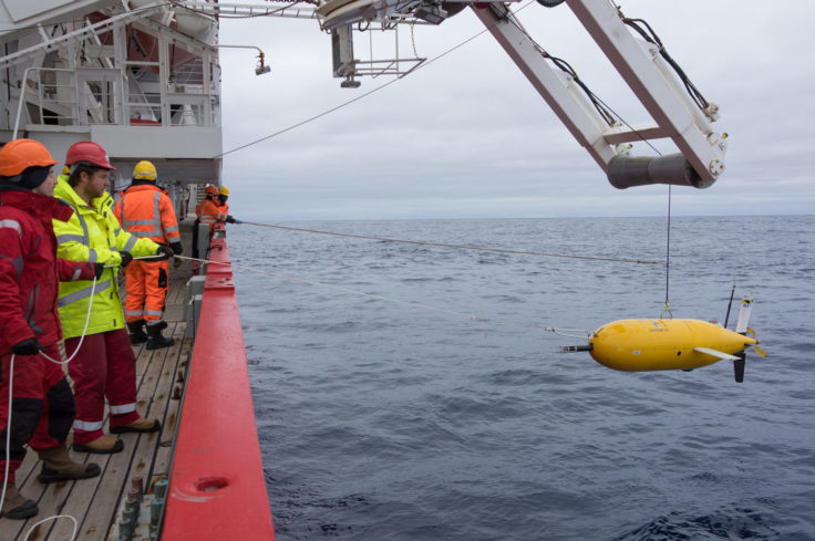 Boaty McBoatface (Autosub Long Range) during its first Antarctic deployment into the Weddell Sea off RRS James Clark Ross