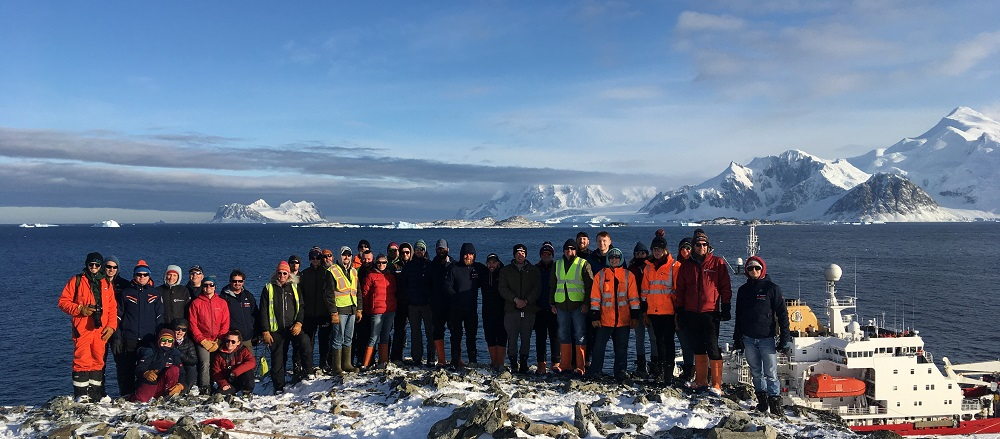 New Rothera Wharf with Construction Team and BAS colleagues overlooking the RRS James Clark Ross