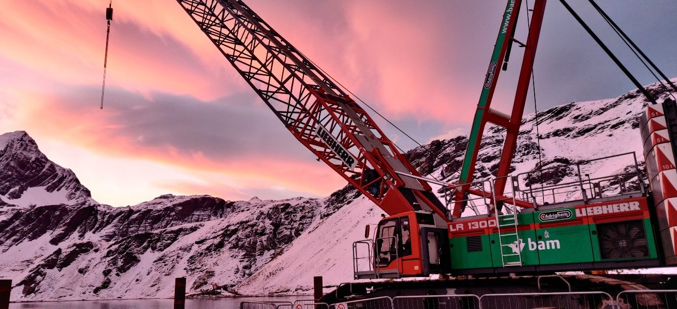 Crane in the Sunset, Positioned to Build the Mooring Dolphin. Credit: William Jones