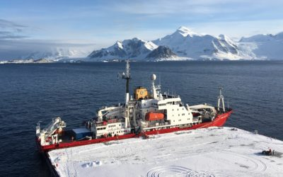 The RRS James Clark Ross moored up at the new Rothera Wharf