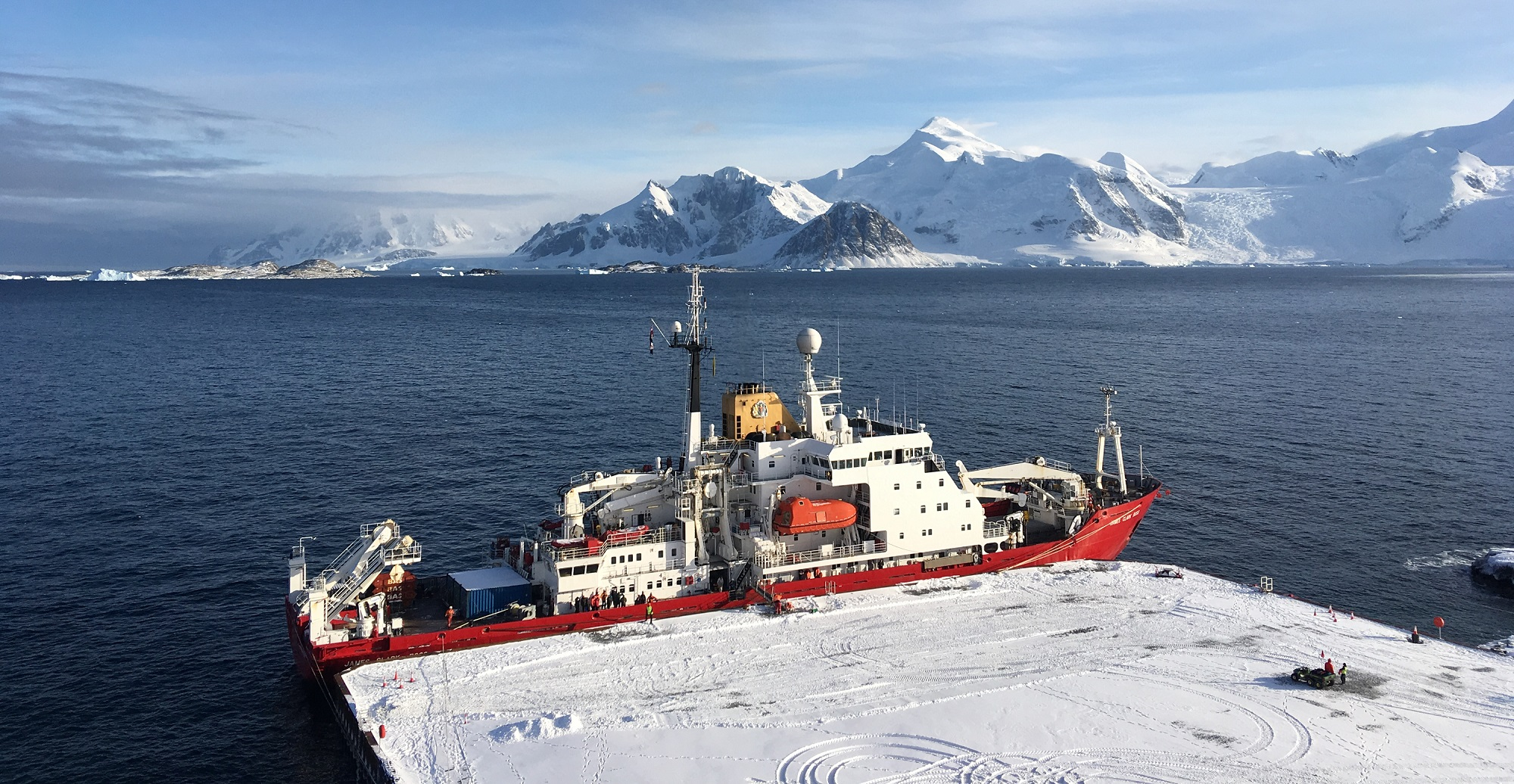 The RRS James Clark Ross moored at the new wharf at Rothera Research Station