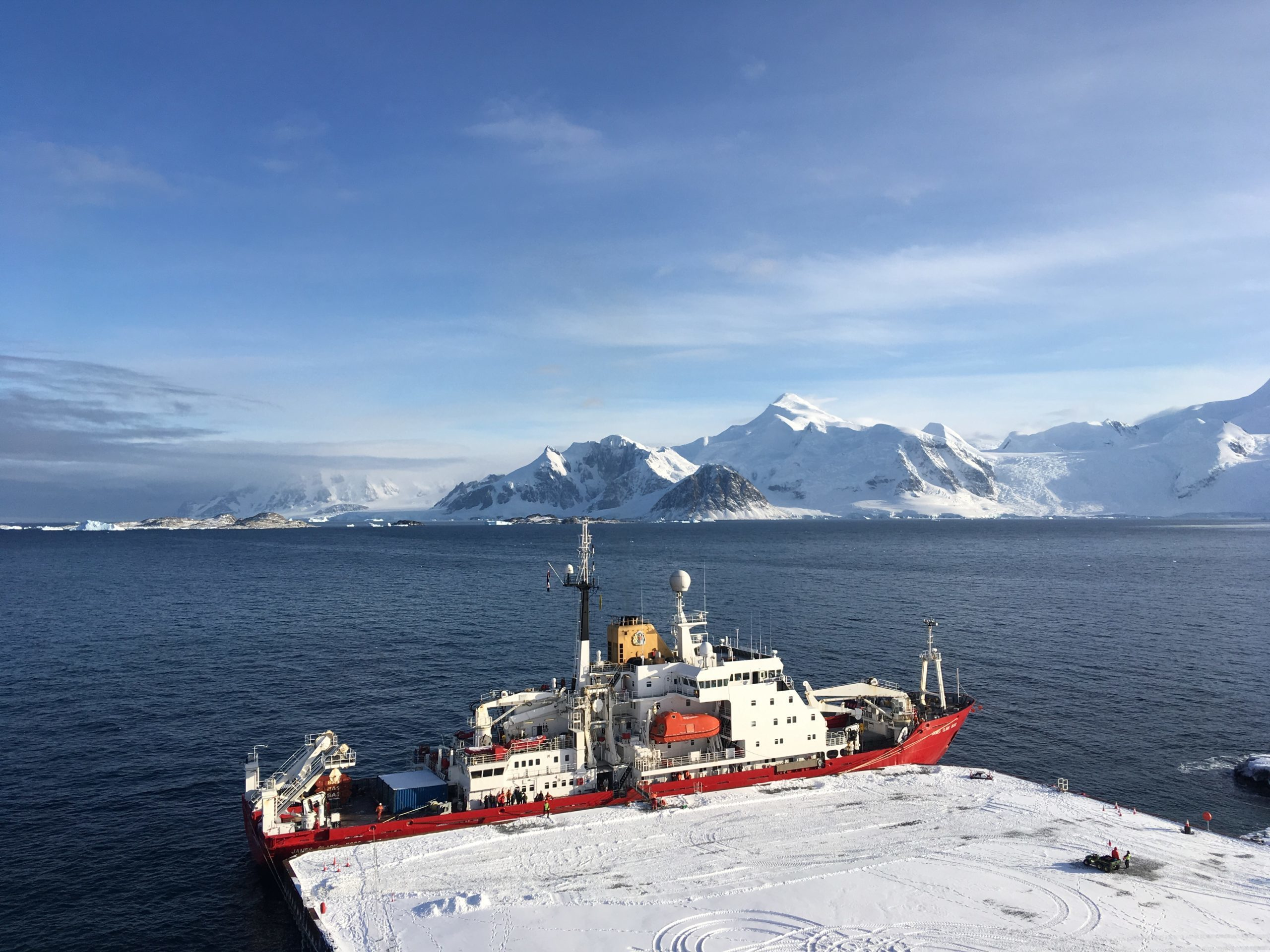 The RRS James Clark Ross ship arrives at the new wharf at Rothera Research Station
