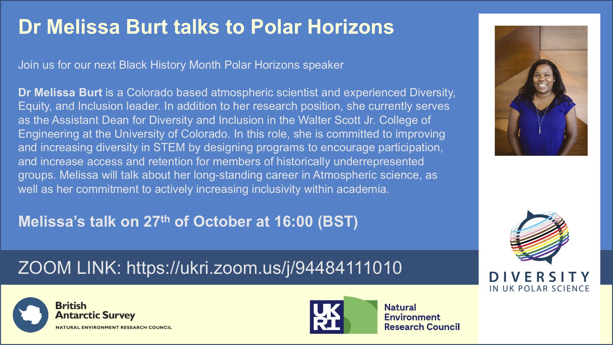 Talk poster with information on speaker Dr Melissa Burt