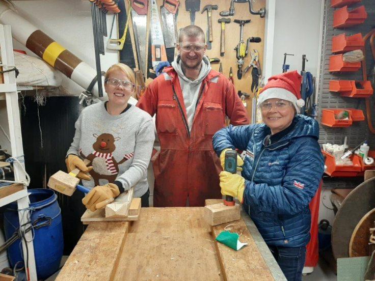 People woodworking onboard RRS James Clark Ross